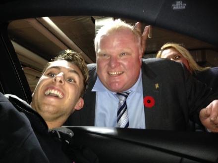 Luke taking a selfie with Rob Ford. (Stefania Lamacchia Photo)