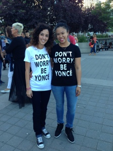 Here we are at the On the Run Tour with our custom t-shirts.